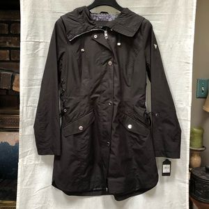 NWT Guess Side Tie Black Hooded Rain Coat Jacket